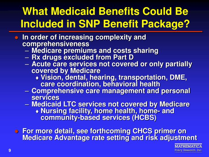 What Medicaid Benefits Could Be Included in SNP Benefit Package?