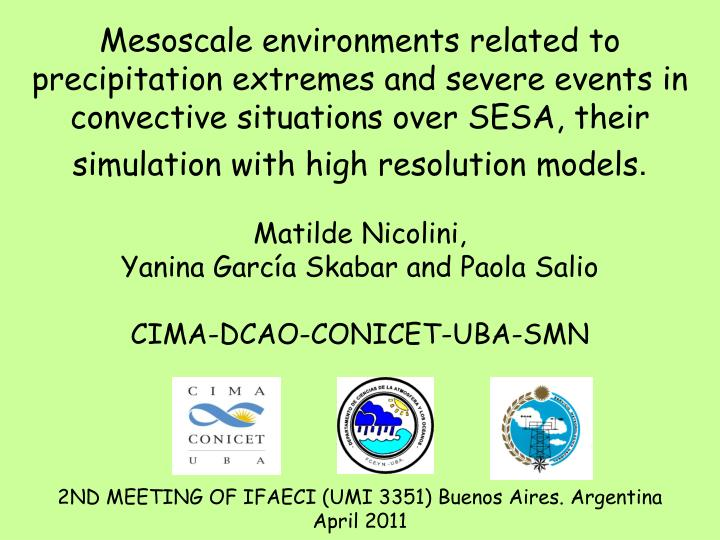 Mesoscale environments related to precipitation extremes and severe events in convective situations ...