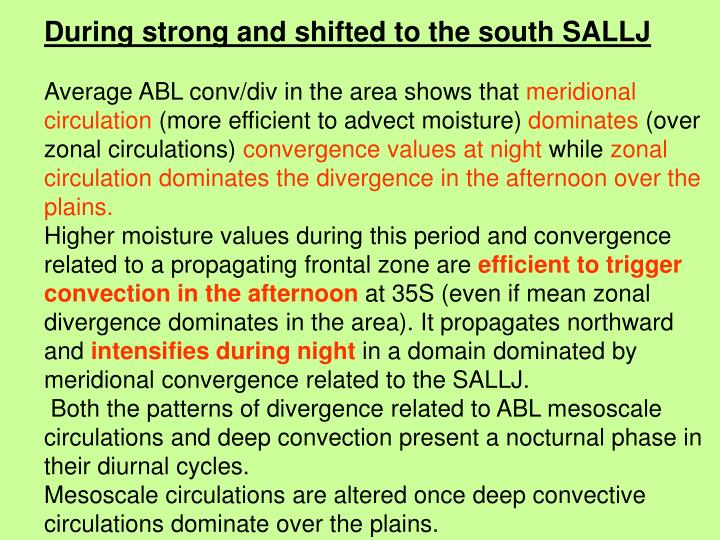 During strong and shifted to the south SALLJ