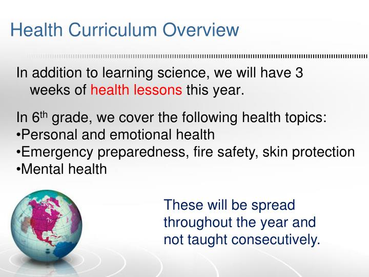 Health curriculum overview