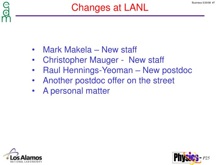 Changes at LANL