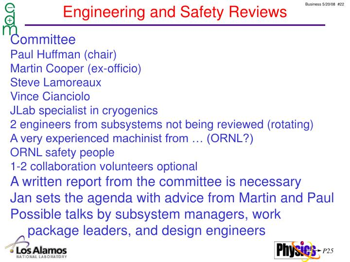 Engineering and Safety Reviews