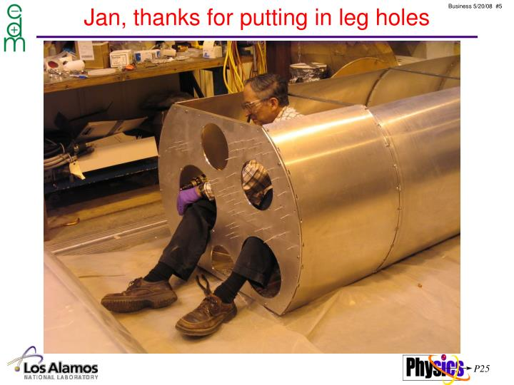 Jan, thanks for putting in leg holes