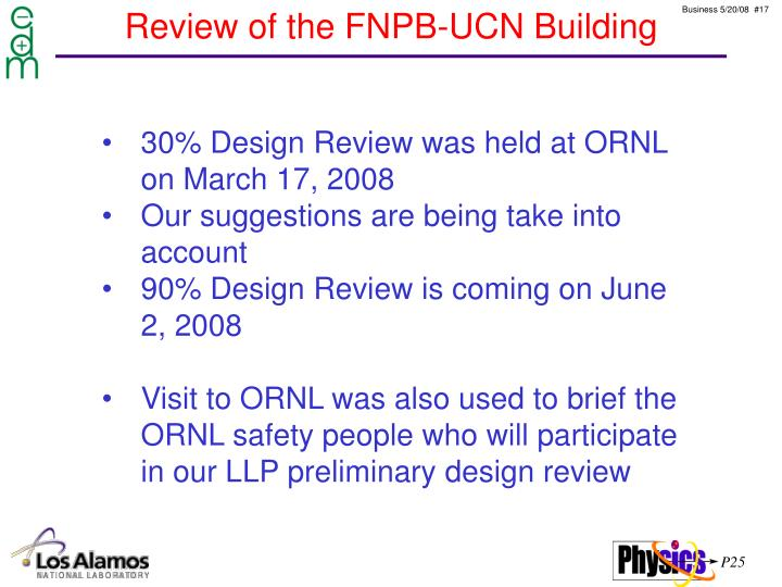 Review of the FNPB-UCN Building