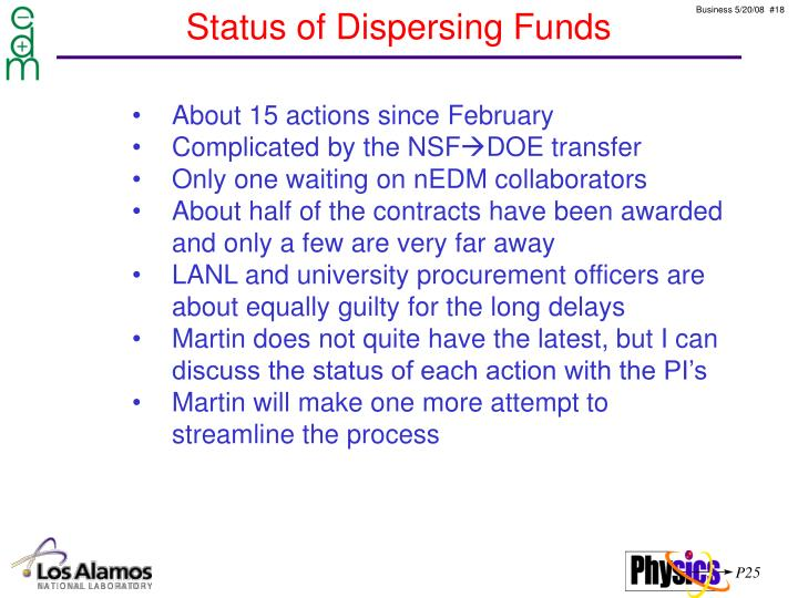 Status of Dispersing Funds