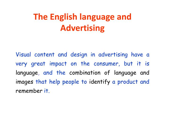 The English language and Advertising