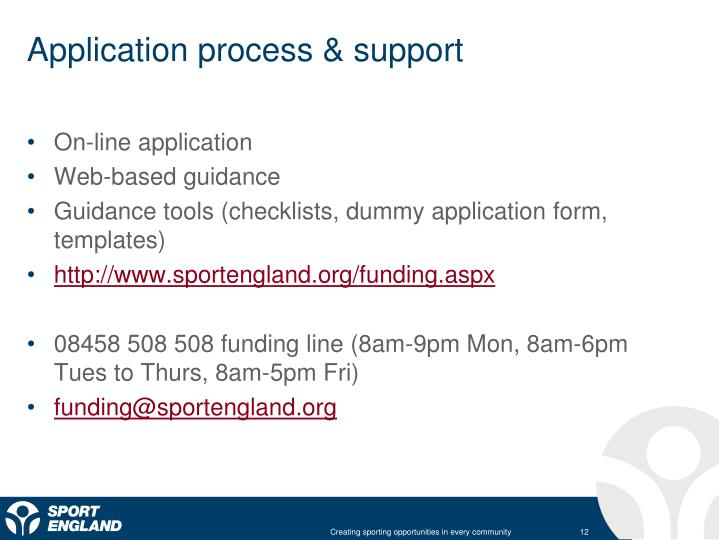 Application process & support