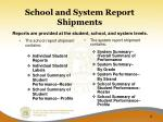 school and system report shipments
