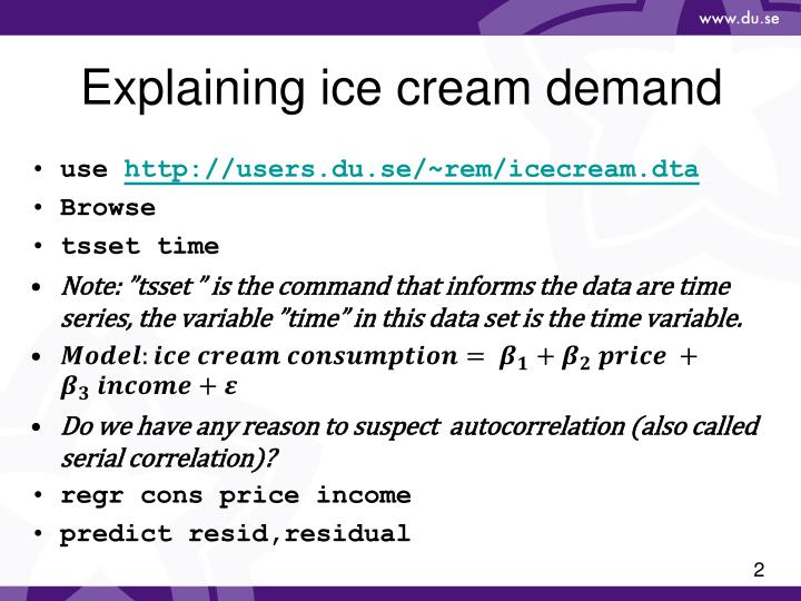 Explaining ice cream demand