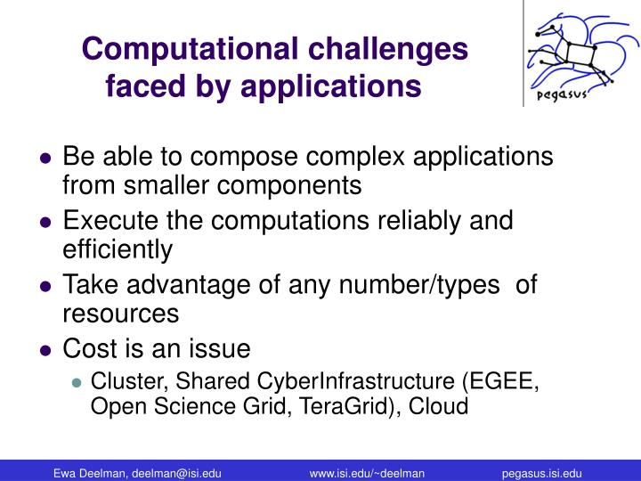 Computational challenges faced by applications