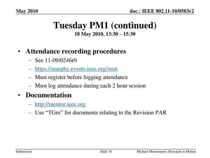 Tuesday PM1 (continued)