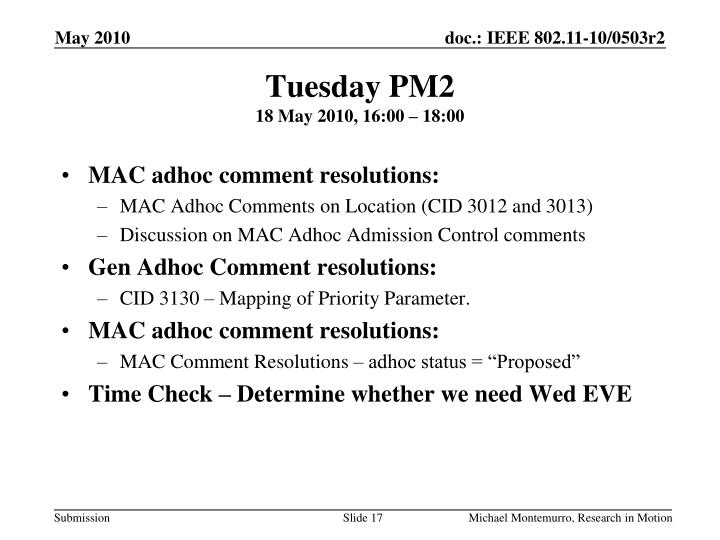 Tuesday PM2