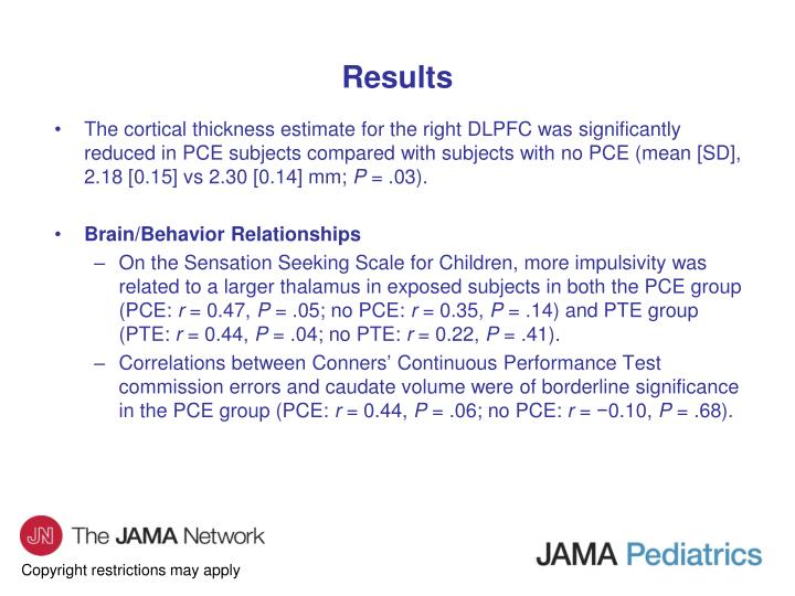 The cortical thickness estimate for the right DLPFC was significantly reduced in PCE subjects compared with subjects with no PCE (