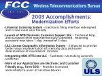 2003 accomplishments modernization efforts