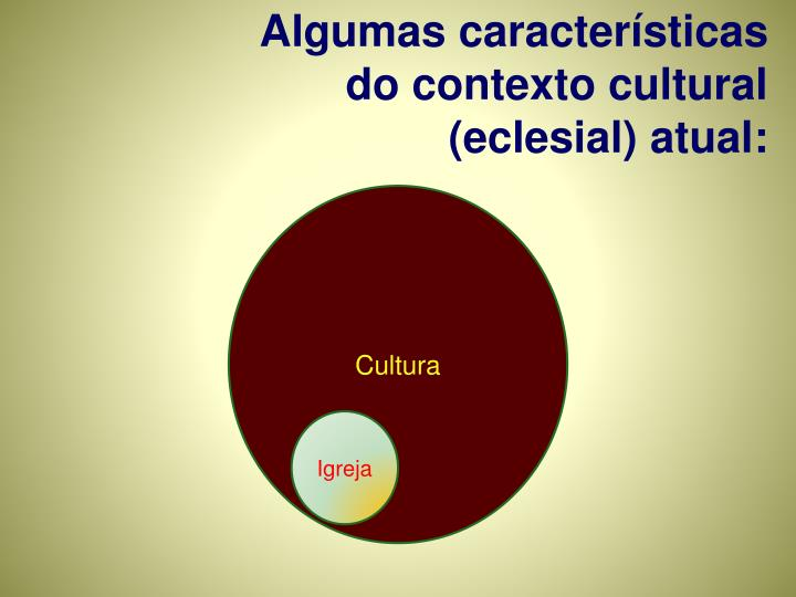 Algumas características do contexto cultural (eclesial) atual: