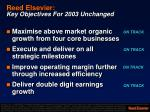 reed elsevier key objectives for 2003 unchanged