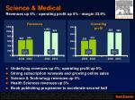 science medical revenues up 6 operating profit up 5 margin 33 9