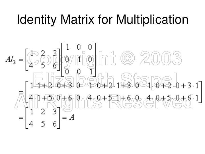 Identity Matrix for Multiplication