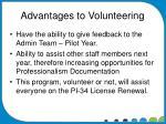 advantages to volunteering