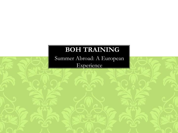 boh training n.