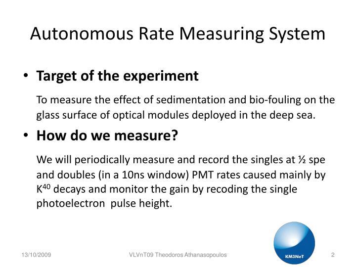 Autonomous rate measuring system1