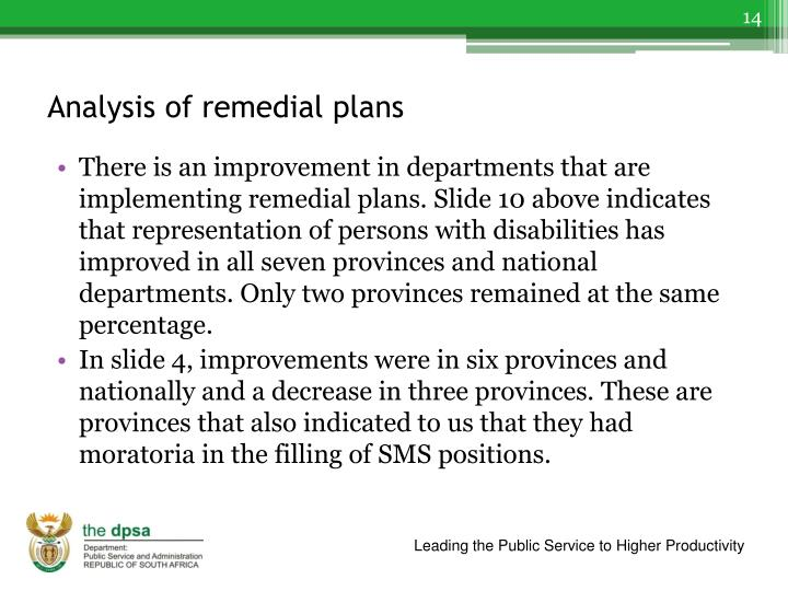 Analysis of remedial plans