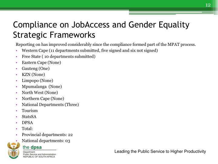 Compliance on JobAccess and Gender Equality Strategic Frameworks