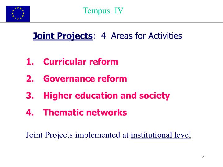 Joint projects 4 areas for activities
