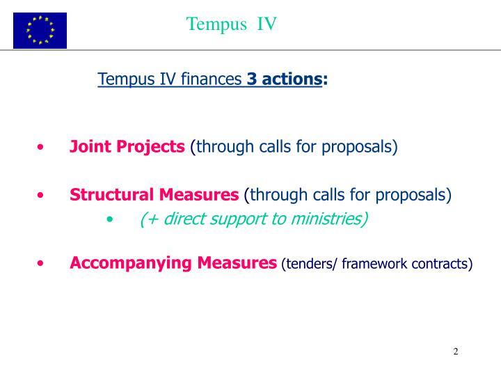Tempus iv finances 3 actions