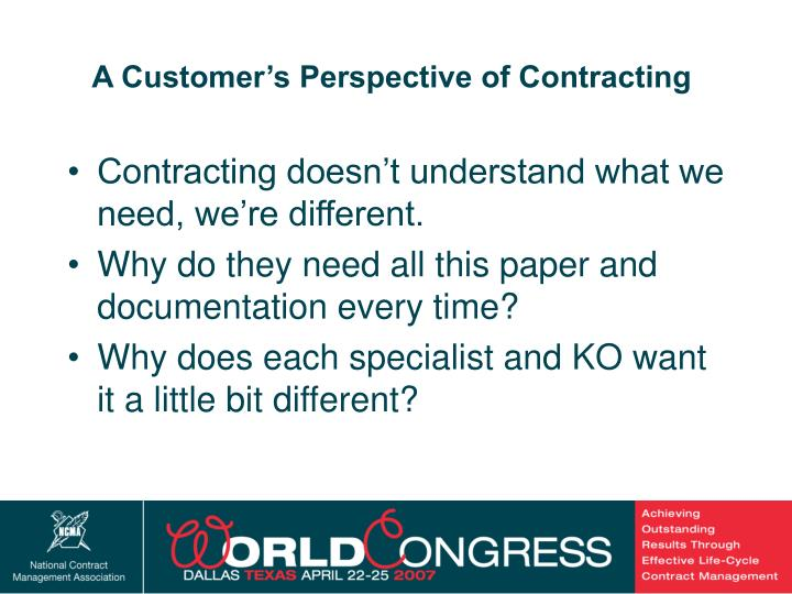 A Customer's Perspective of Contracting