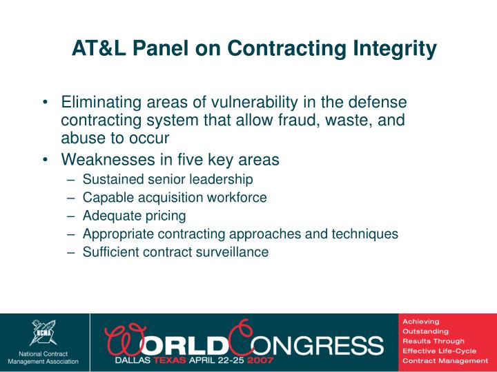 AT&L Panel on Contracting Integrity