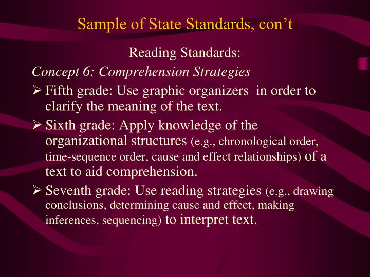 Sample of State Standards, con't