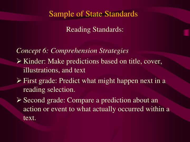 Sample of State Standards