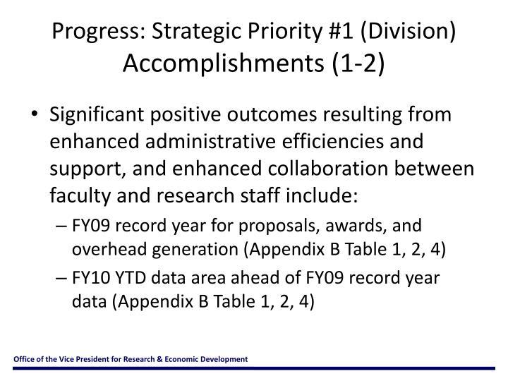 Progress: Strategic Priority #1 (Division)