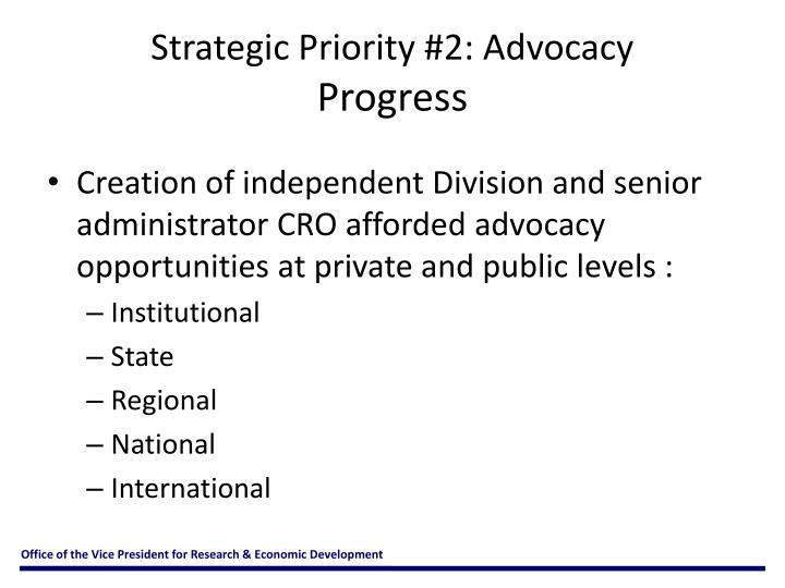 Strategic Priority #2: Advocacy