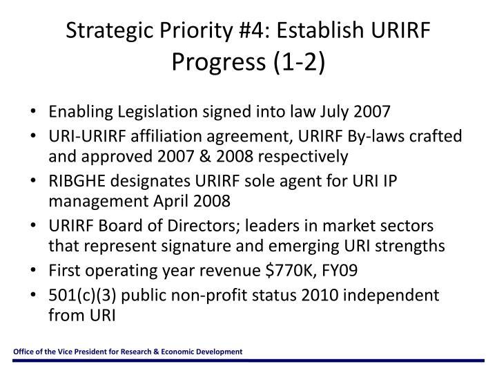 Strategic Priority #4: Establish URIRF