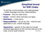 simplified format for she codes