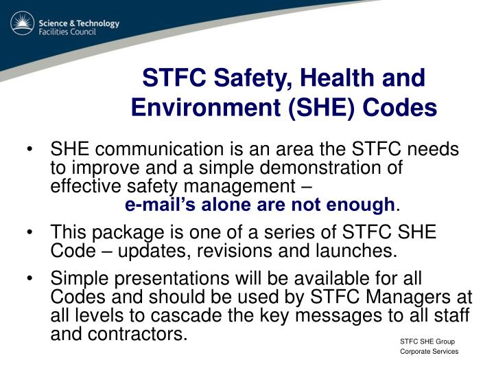 stfc safety health and environment she codes n.