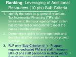 ranking leveraging of additional resources 10 pts sub criteria