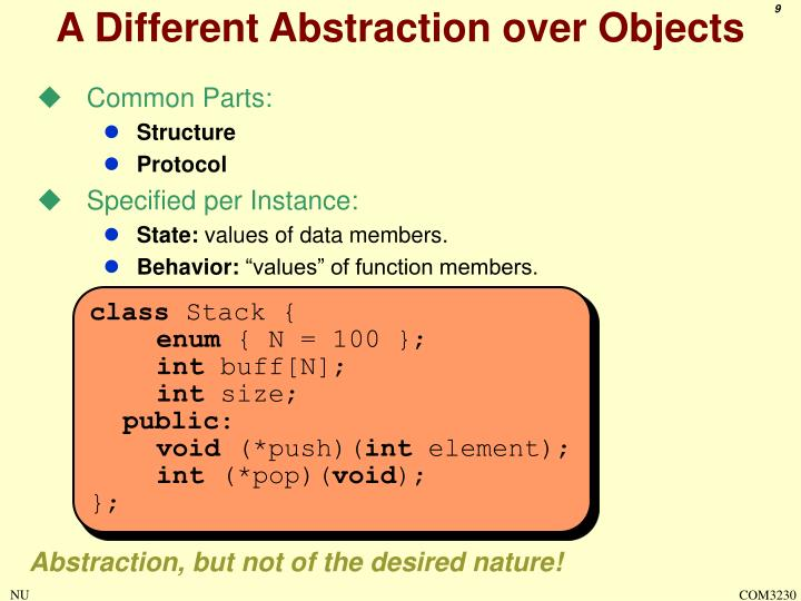 A Different Abstraction over Objects