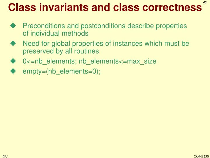 Class invariants and class correctness