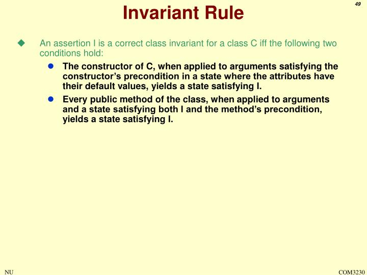 Invariant Rule
