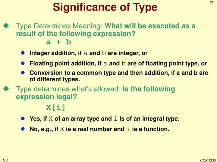 Significance of Type