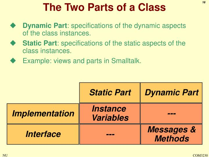 The Two Parts of a Class
