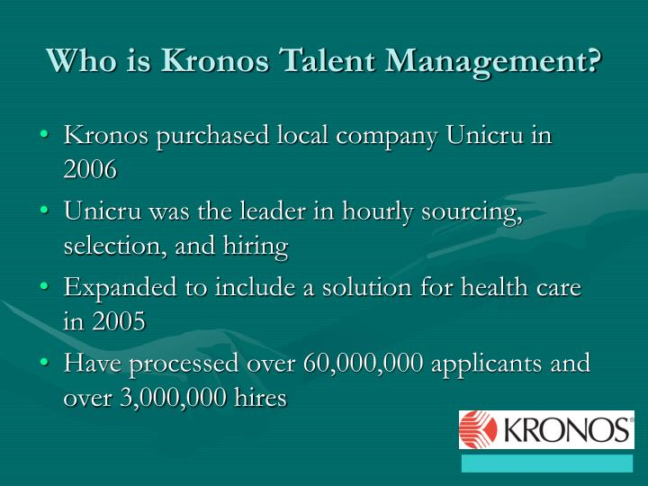 Who is Kronos Talent Management?