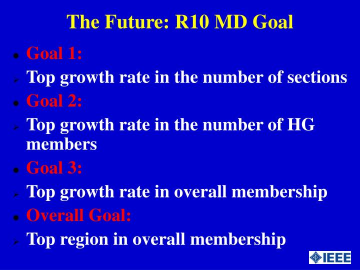 The Future: R10 MD Goal