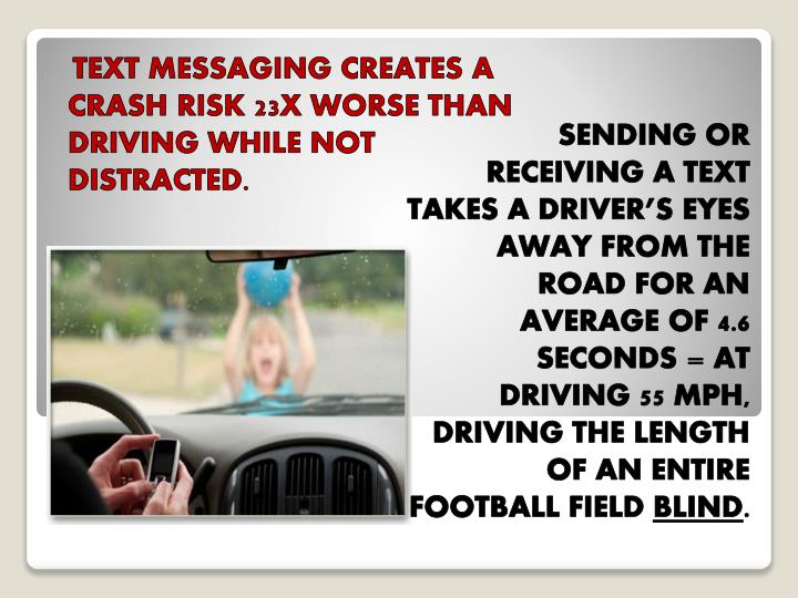 TEXT MESSAGING CREATES A CRASH RISK 23X WORSE THAN DRIVING WHILE NOT DISTRACTED.
