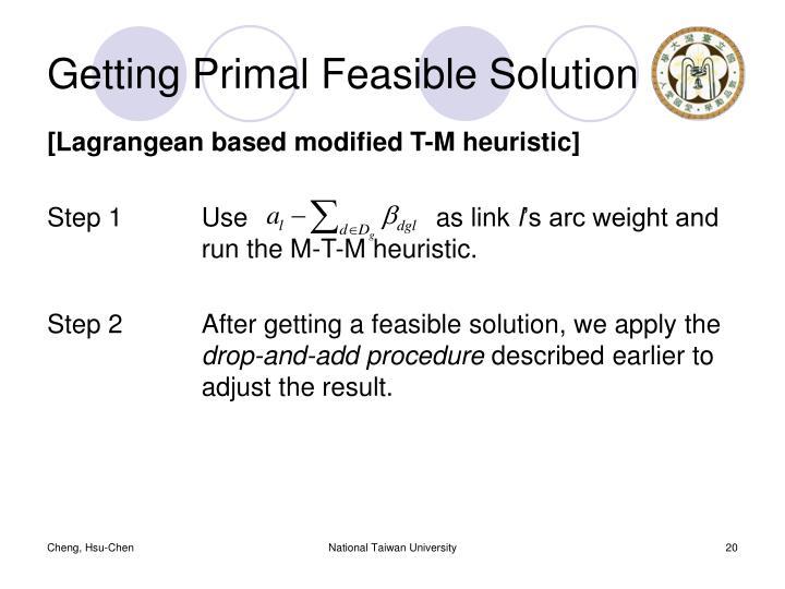 Getting Primal Feasible Solution