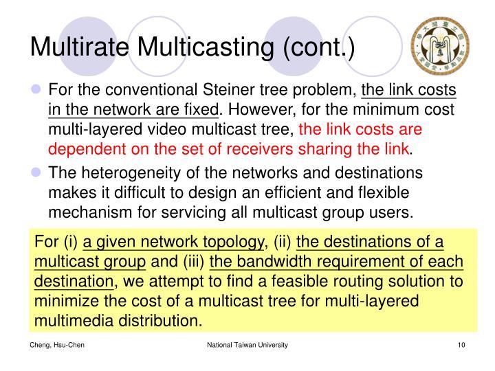 Multirate Multicasting (cont.)