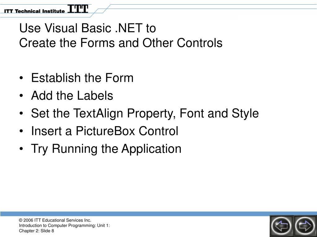 PPT - Unit 1 Introduction to Programming Using VB NET Chapter 2